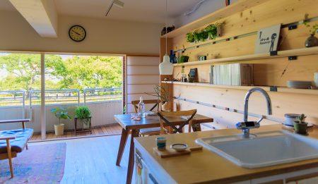 桜並木の景色を楽しむキッチン