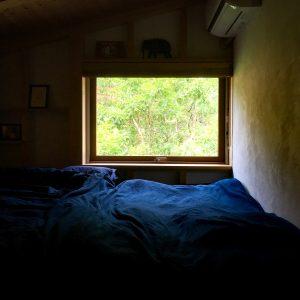 緑を切り取る窓のあるシンケンスタイルの寝室