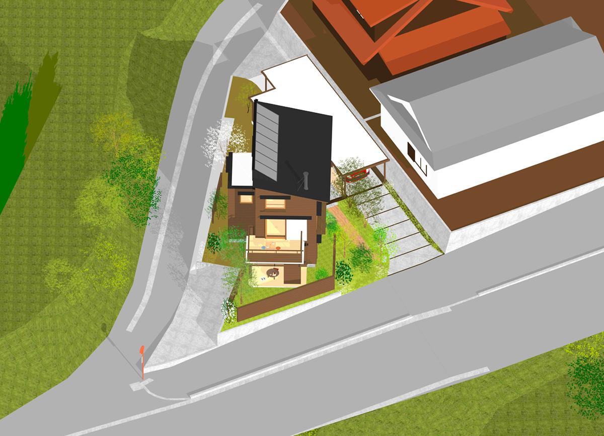 変形の三角地に建てた家